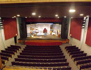 photo of a set on the stage of Whittier Centre Theatre