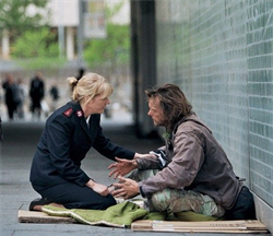 woman with homeless man